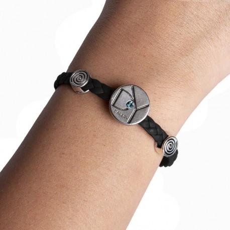 Bracelet cuir noir ( B17/27)