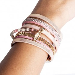 Bracelet cuir rose (DY10)