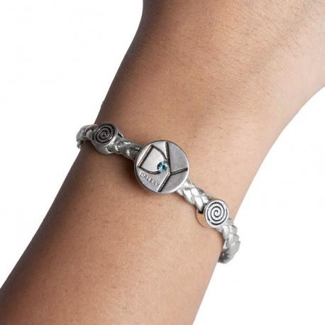 Bracelet cuir argent ( B17/31)