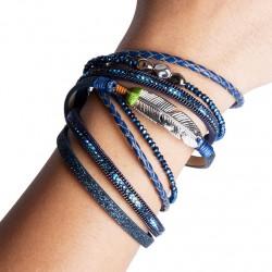 Bracelet cuir bleu (DY08)
