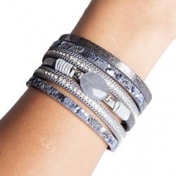 Bracelet cuir gris (DY09)