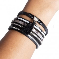 Bracelet cuir noir (DY12)