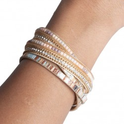 Bracelet cuir beige rose (DY13)